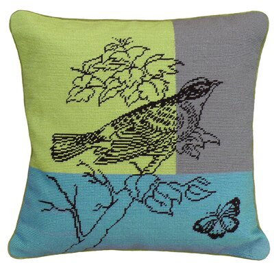 Bird Needlepoint Wool Throw Pillow