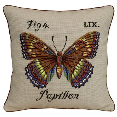 Papillon Needlepoint Wool Throw Pillow