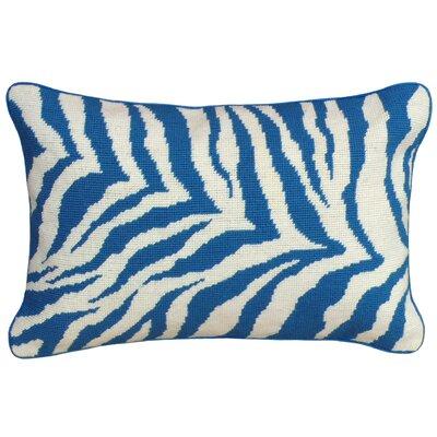 Zebra Needlepoint Wool Lumbar Pillow
