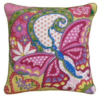 Butterfly Needlepoint Wool Throw Pillow