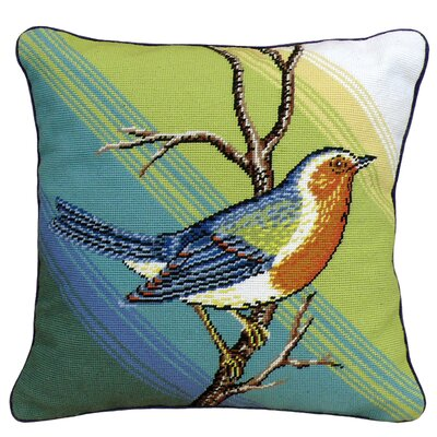 Singing Bird Needlepoint Wool Throw Pillow
