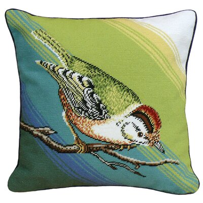 Pecking Bird Needlepoint Wool Throw Pillow