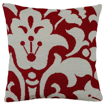 Damask Foral Needlepoint Wool Throw Pillow Color: Red