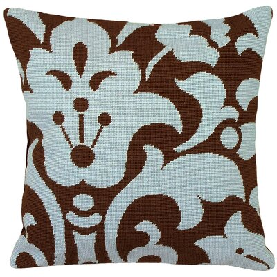 Damask Foral Needlepoint Wool Throw Pillow Color: Blue and Brown