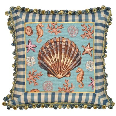 Coastal Scallop Shell Needlepoint Wool Throw Pillow