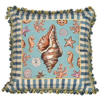 Coastal Conch Shell Needlepoint Wool Throw Pillow