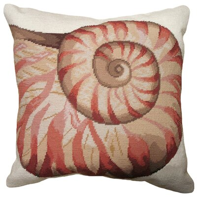 Coastal Seashell Needlepoint Wool Throw Pillow