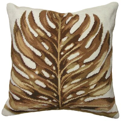 Tropical Palm Leaf Needlepoint Wool Throw Pillow