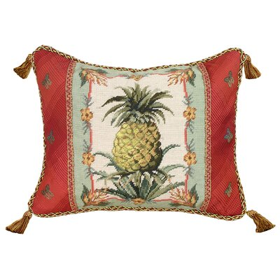 Pineapple Needlepoint Wool Lumbar Pillow