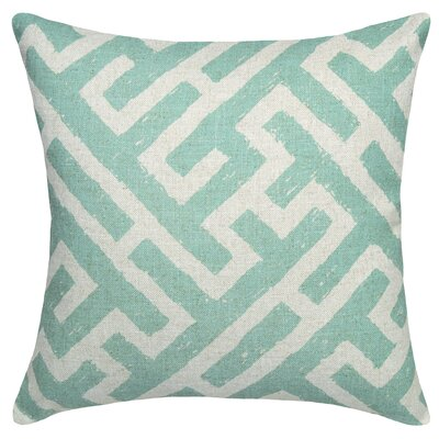 Adan Lattice Linen Throw Pillow Color: Aqua