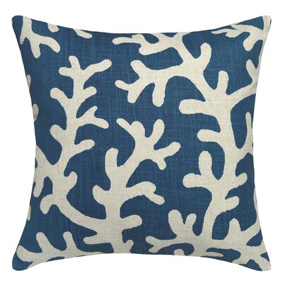 Coastal Coral Linen Throw Pillow Color: Navy