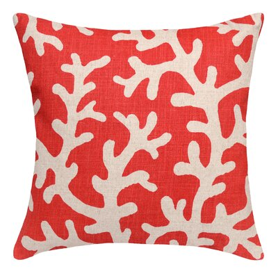 Coastal Coral Linen Throw Pillow Color: Red