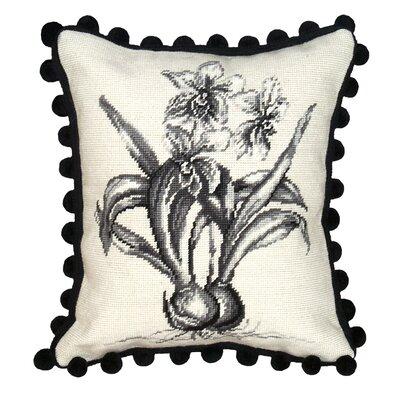 Orchid Needlepoint Wool Lumbar Pillow