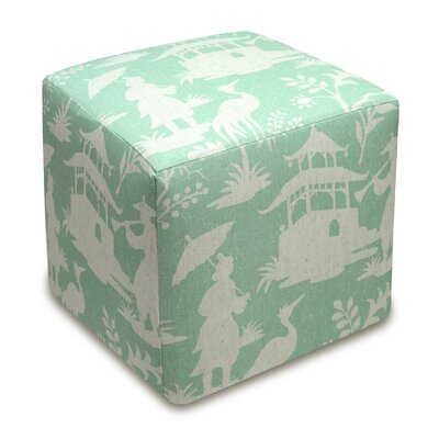 Chinoiserie Upholstered Cube Ottoman Color: Aqua