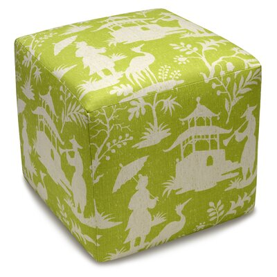 Chinoiserie Upholstered Cube Ottoman Color: Chartreuse Green