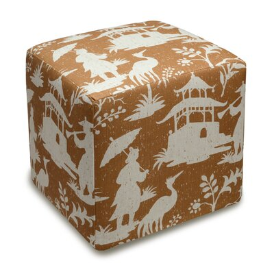 Chinoiserie Upholstered Cube Ottoman Color: Caramel
