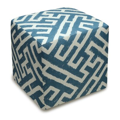 Acevedo Lattice Upholstered Cube Ottoman Color: Navy Blue