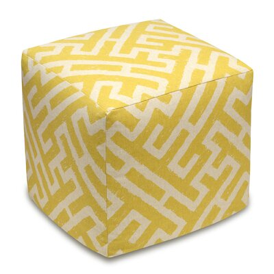 Lattice Upholstered Cube Ottoman Color: Mustard