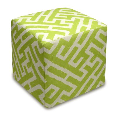 Acevedo Lattice Upholstered Cube Ottoman Color: Chartreuse Green