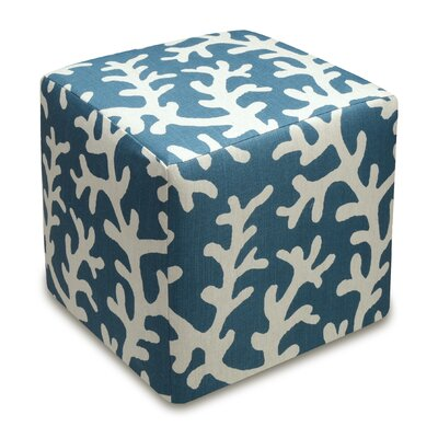 Coral Upholstered Cube Ottoman Upholstery: Navy Blue