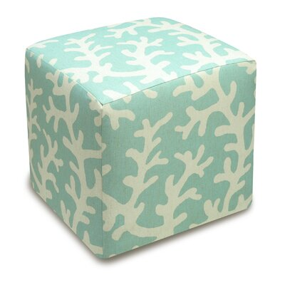 Coral Upholstered Cube Ottoman Upholstery: Aqua