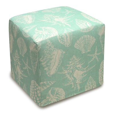 Seashells Upholstered Cube Ottoman Upholstery: Aqua