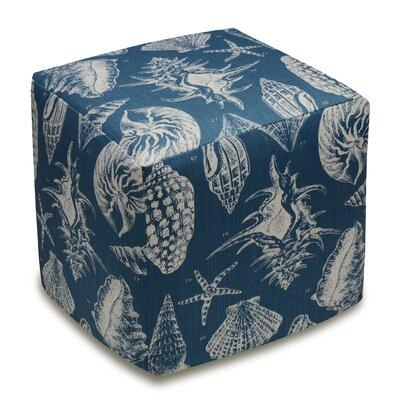 Seashells Upholstered Cube Ottoman Upholstery: Navy Blue