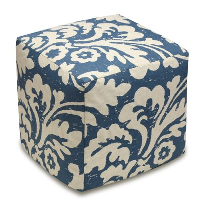 Jacobean Floral Upholstered Cube Ottoman Color: Navy Blue