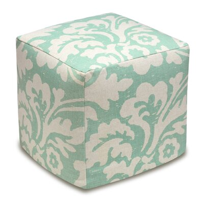 Jacobean Cube Ottoman Color: Aqua