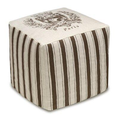 Paris Crest Upholstered Cube Ottoman