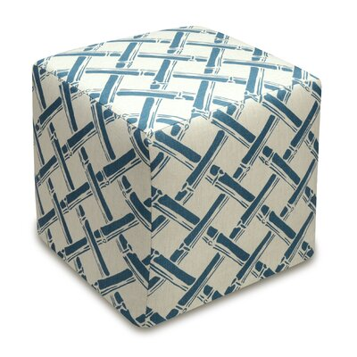 Bamboo Trellis Upholstered Cube Ottoman Upholstery: Navy Blue