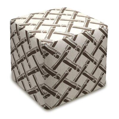 Bamboo Trellis Upholstered Cube Ottoman Upholstery: Gray