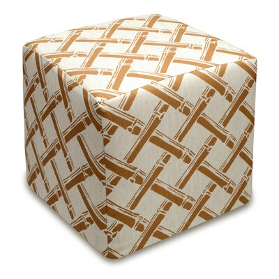 Bamboo Trellis Upholstered Cube Ottoman Upholstery: Caramel