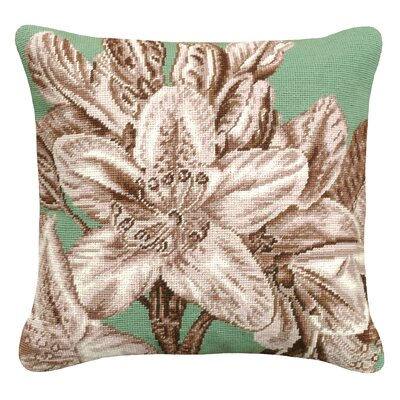 Floral Lily Needlepoint Wool Throw Pillow