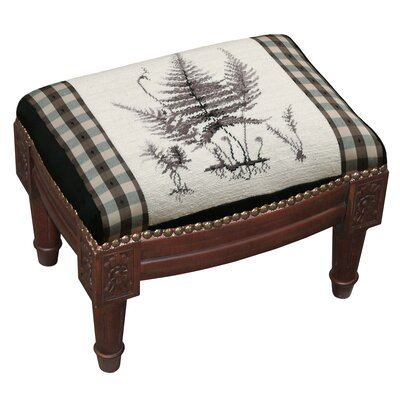 Botanical Fern Wool Needlepoint Upholstered Footstool C642FSS