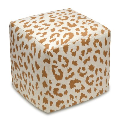 Animal Print Upholstered Cube Ottoman Color: Caramel