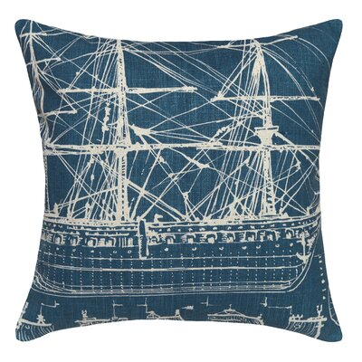 Tall Ship Printed Linen Throw Pillow