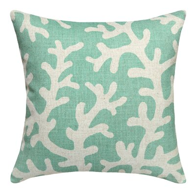 Coral Printed Linen Throw Pillow
