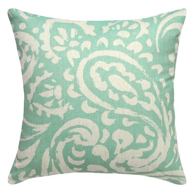 Paisley Printed Linen Throw Pillow Color: Aqua