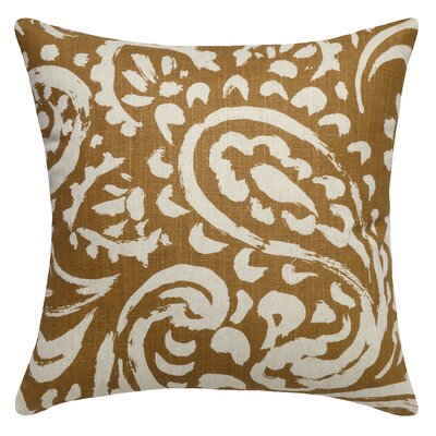 Paisley Printed Linen Throw Pillow Color: Caramel