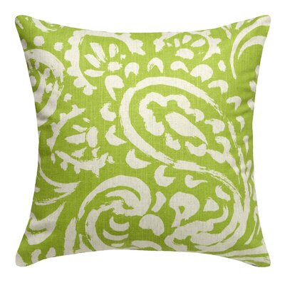 Paisley Printed Linen Throw Pillow Color: Chartreuse Green