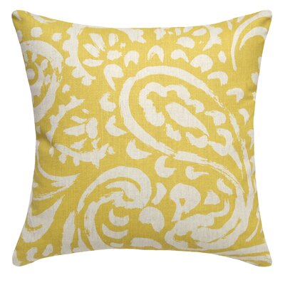 Paisley Printed Linen Throw Pillow Color: Mustard