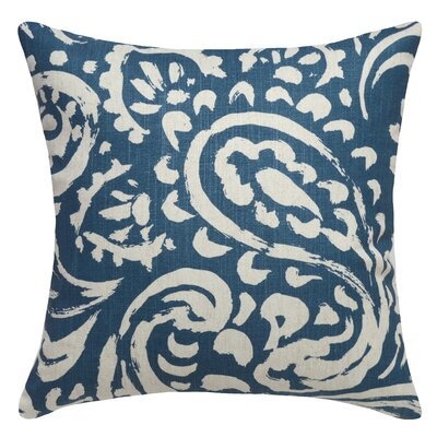 Paisley Printed Linen Throw Pillow Color: Navy Blue