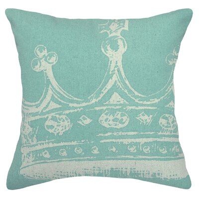 Modern Crown Linen Throw Pillow Color: Aqua