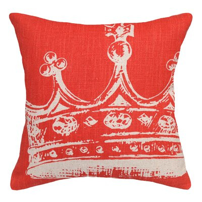 Modern Crown Linen Throw Pillow Color: Coral Red