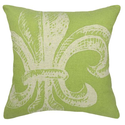 Modern Fleur De Lis Linen Throw Pillow Color: Chartreuse Green