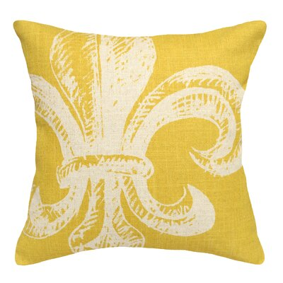 Modern Fleur De Lis Linen Throw Pillow Color: Mustard