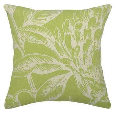 Floral Coral Botanical Linen Throw Pillow Color: Chartreuse Green
