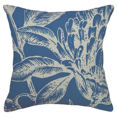 Floral Coral Botanical Linen Throw Pillow Color: Navy Blue