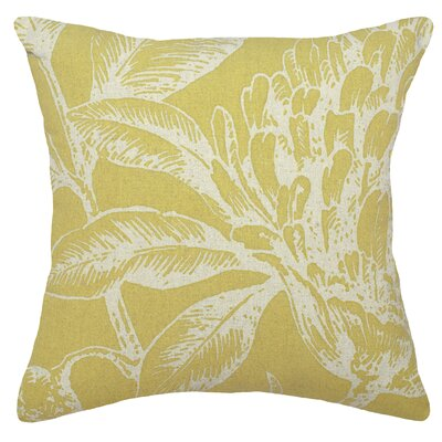 Floral Coral Botanical Linen Throw Pillow Color: Mustard